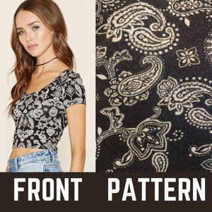 Forever 21 Black Bandana Print Crop Top